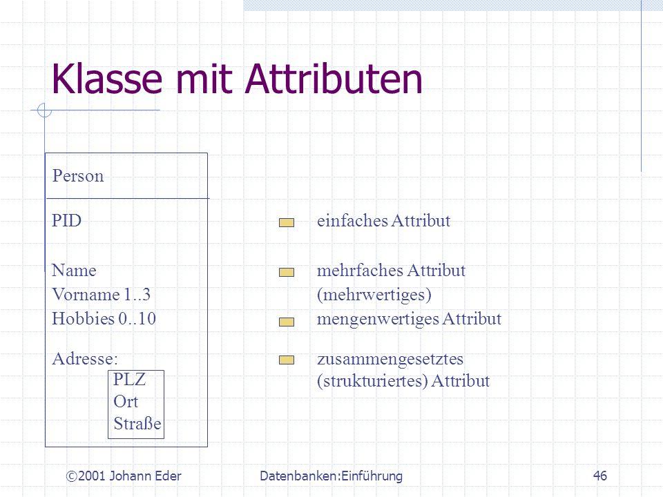 ©2001 Johann EderDatenbanken:Einführung46 Klasse mit Attributen Person PIDeinfaches Attribut Namemehrfaches Attribut Vorname 1..3(mehrwertiges) Hobbie