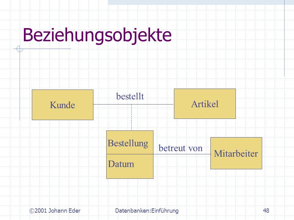 ©2001 Johann EderDatenbanken:Einführung48 Beziehungsobjekte Kunde Artikel Mitarbeiter bestellt Bestellung Datum betreut von