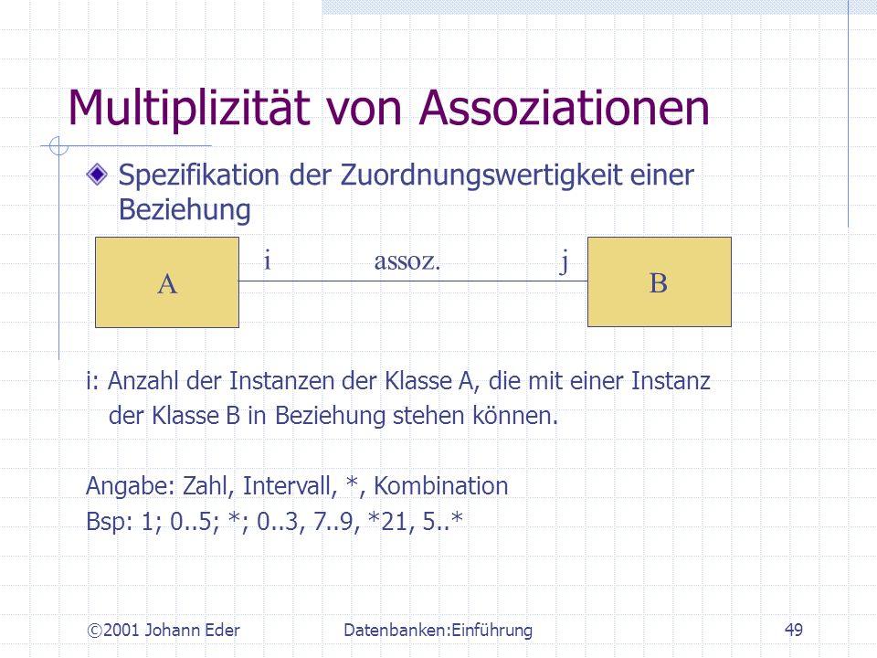 ©2001 Johann EderDatenbanken:Einführung49 Multiplizität von Assoziationen Spezifikation der Zuordnungswertigkeit einer Beziehung A B i assoz. j i: Anz