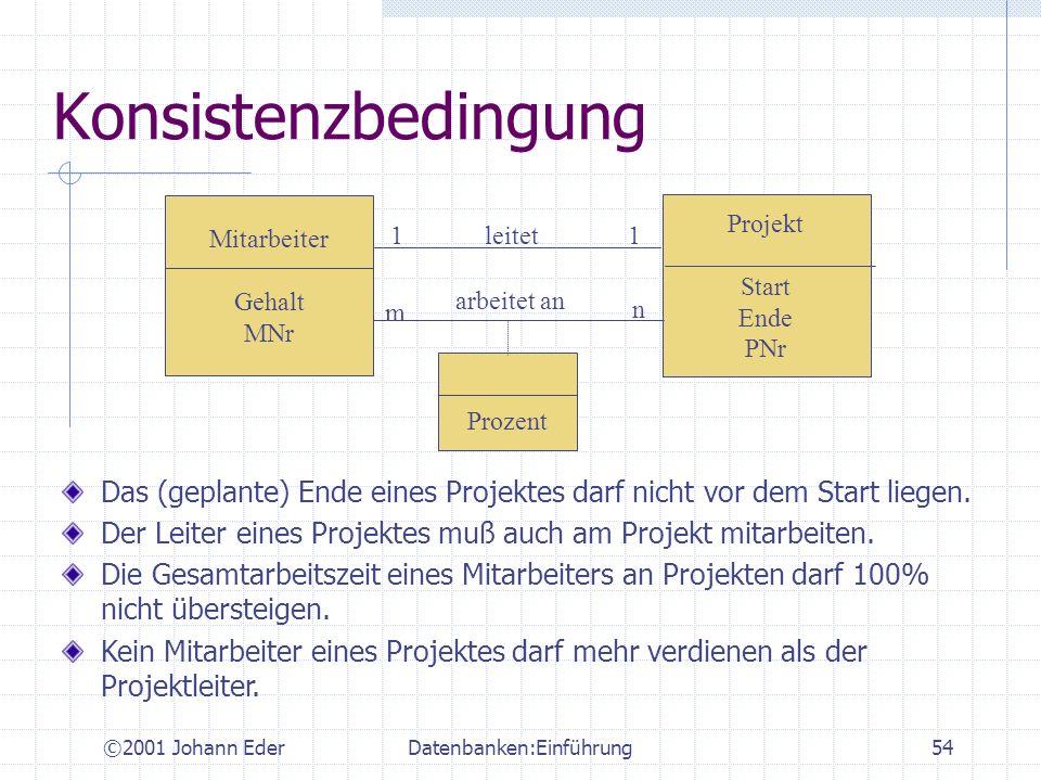 ©2001 Johann EderDatenbanken:Einführung54 Konsistenzbedingung Mitarbeiter Gehalt MNr Das (geplante) Ende eines Projektes darf nicht vor dem Start lieg
