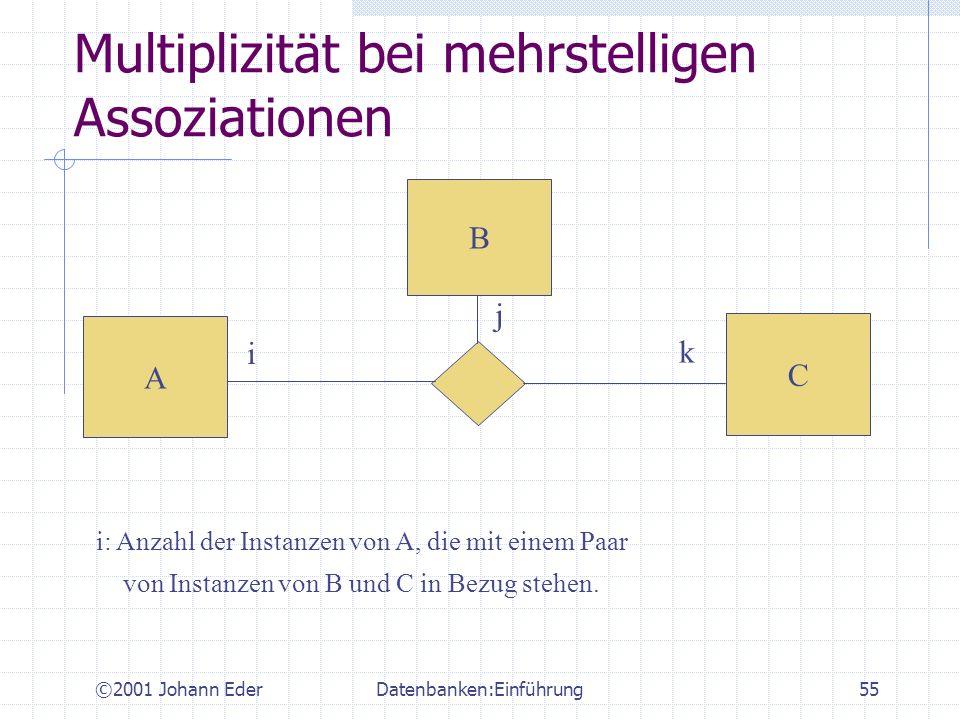 ©2001 Johann EderDatenbanken:Einführung55 Multiplizität bei mehrstelligen Assoziationen C A B i k j i: Anzahl der Instanzen von A, die mit einem Paar