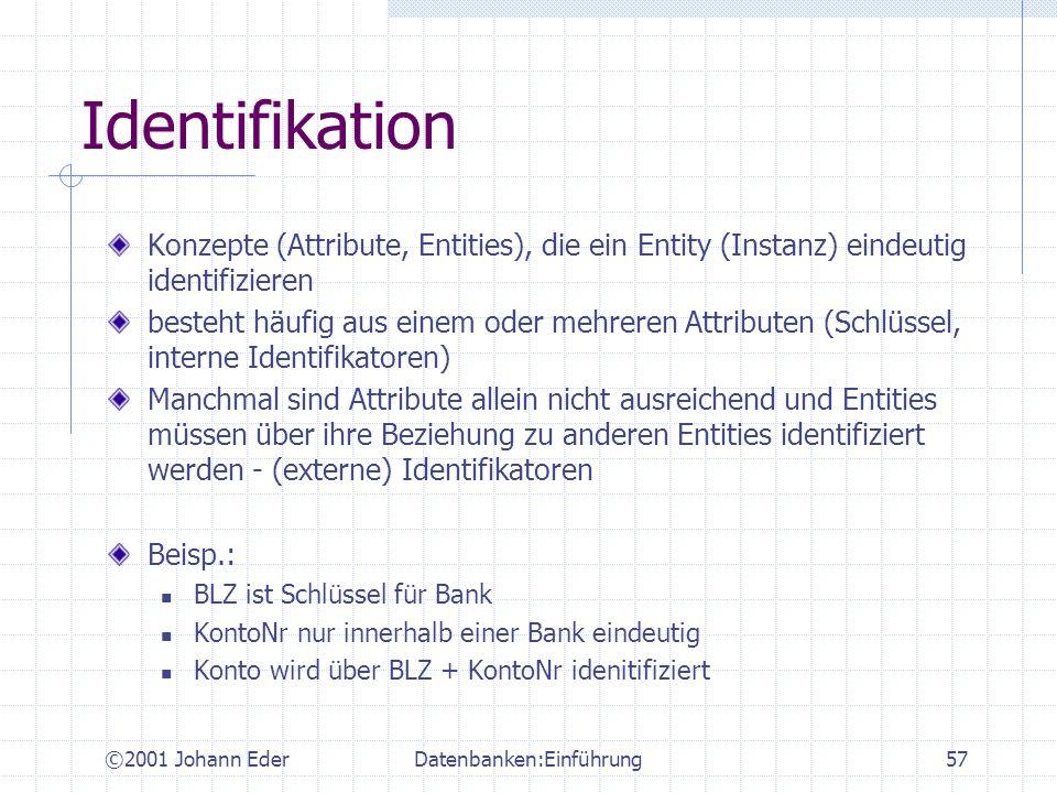 ©2001 Johann EderDatenbanken:Einführung57 Identifikation Konzepte (Attribute, Entities), die ein Entity (Instanz) eindeutig identifizieren besteht häu