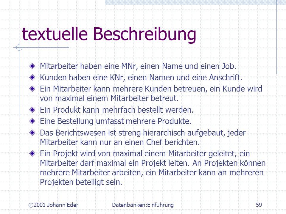 ©2001 Johann EderDatenbanken:Einführung59 textuelle Beschreibung Mitarbeiter haben eine MNr, einen Name und einen Job. Kunden haben eine KNr, einen Na