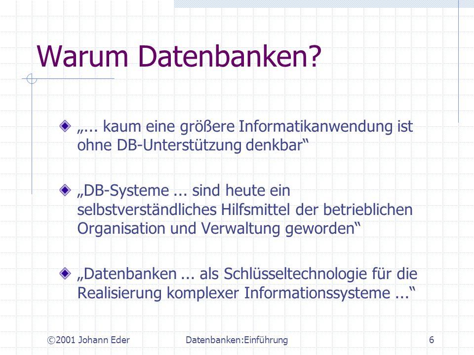 ©2001 Johann EderDatenbanken:Einführung17 Datensicherheit Schutz vor unberechtigtem Zugriff Berechtigungssystem definieren Sicherheitssubjekte (Benutzer, Rollen, etc.) Sicherheitsobjekte (Daten) Rechte (Lesen, Schreiben - i.e.