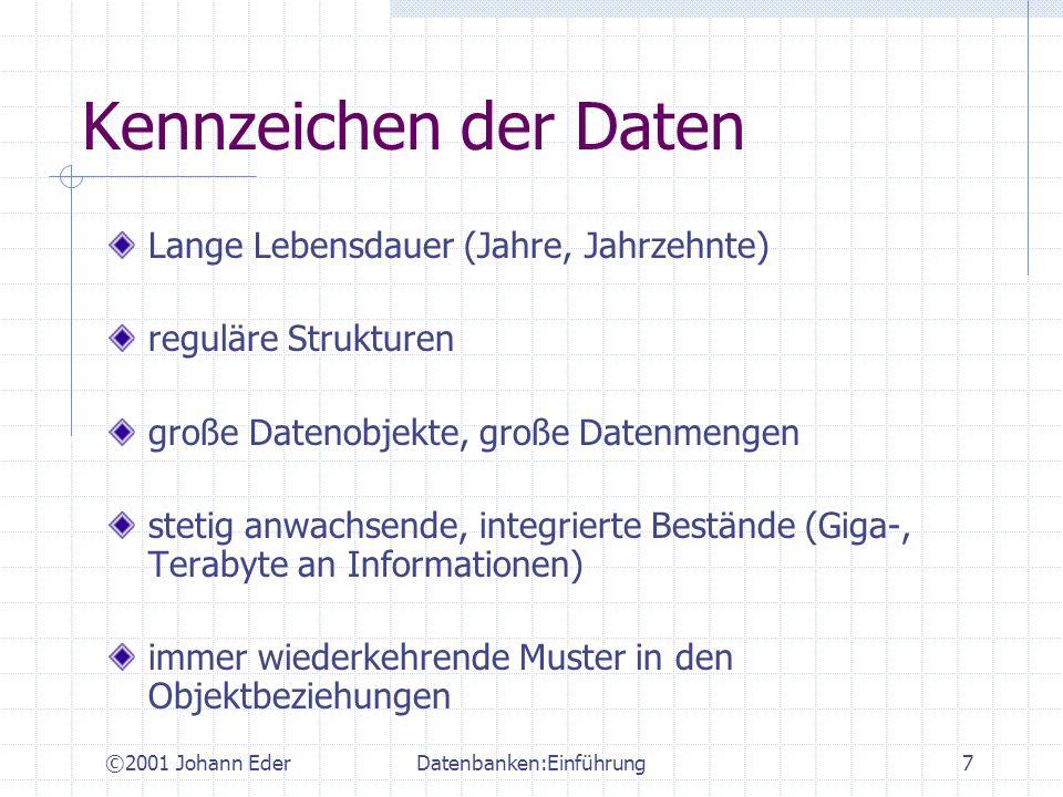 ©2001 Johann EderDatenbanken:Einführung18 Ad-hoc Abfragesprachen Abfrage von Daten ohne eigenes prozedurales Programm schreiben zu müssen deklarativer Zugriff SQL, QBE, etc.