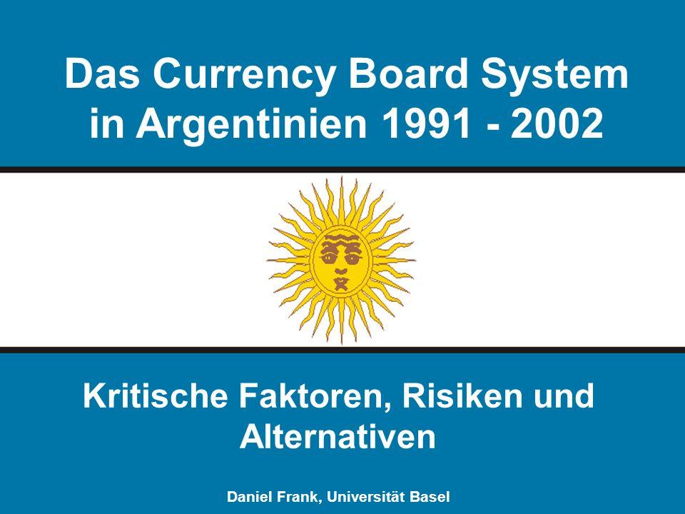 Currency Board in Argentinien - 12Aussenwirtschaft - Universität Basel - Januar 2005 Currency Boards: Überblick (III) Kurs ARS/USD = 1.00 Automatische Anpassung der monetären Basis –Inländer tauscht ARS gegen USD bei der Zentralbank –d.h.