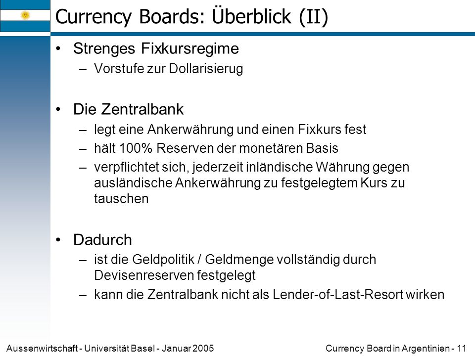 Currency Board in Argentinien - 11Aussenwirtschaft - Universität Basel - Januar 2005 Currency Boards: Überblick (II) Strenges Fixkursregime –Vorstufe