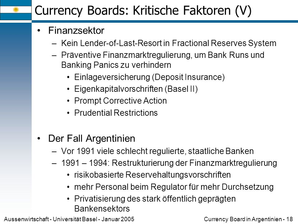 Currency Board in Argentinien - 18Aussenwirtschaft - Universität Basel - Januar 2005 Currency Boards: Kritische Faktoren (V) Finanzsektor –Kein Lender