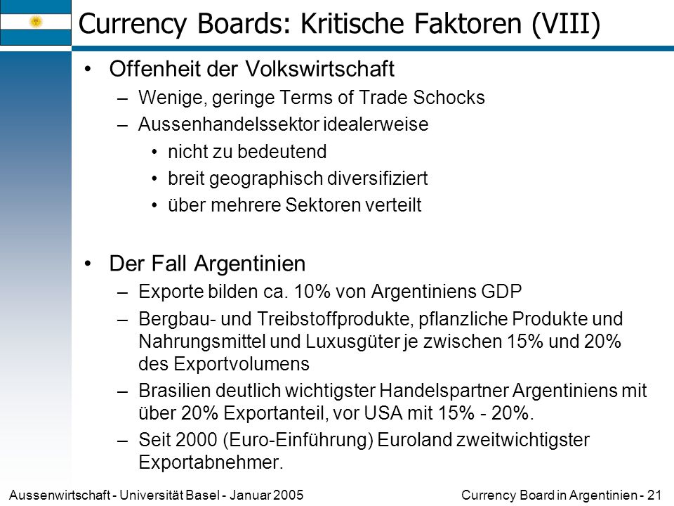 Currency Board in Argentinien - 21Aussenwirtschaft - Universität Basel - Januar 2005 Currency Boards: Kritische Faktoren (VIII) Offenheit der Volkswir