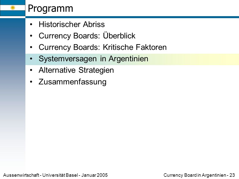 Currency Board in Argentinien - 23Aussenwirtschaft - Universität Basel - Januar 2005 Programm Historischer Abriss Currency Boards: Überblick Currency Boards: Kritische Faktoren Systemversagen in Argentinien Alternative Strategien Zusammenfassung