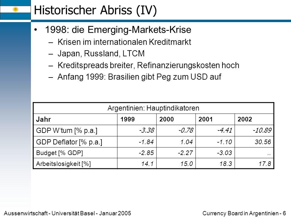 Currency Board in Argentinien - 7Aussenwirtschaft - Universität Basel - Januar 2005 Historischer Abriss (V) 2000 – 2001: Der Weg zur Krise –Dezember 1999: neuer Präsident Fernando De La Rúa –Steuererhöhung, um das Budgetdefizit einzudämmen Ohne den gewünschten Effekt Steuererträge gehen sogar zurück Erneute Rezession –Anfang 2001: IMF bewilligt Rescue Package von 40 Mrd USD –März 2001: Regierungskoalition zerbricht.