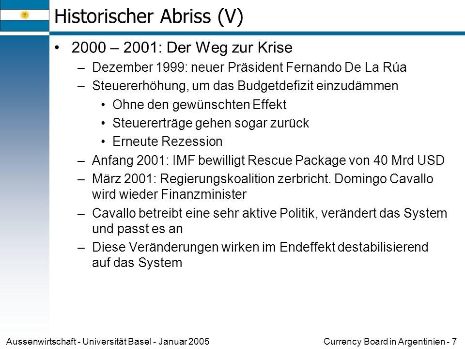 Currency Board in Argentinien - 7Aussenwirtschaft - Universität Basel - Januar 2005 Historischer Abriss (V) 2000 – 2001: Der Weg zur Krise –Dezember 1