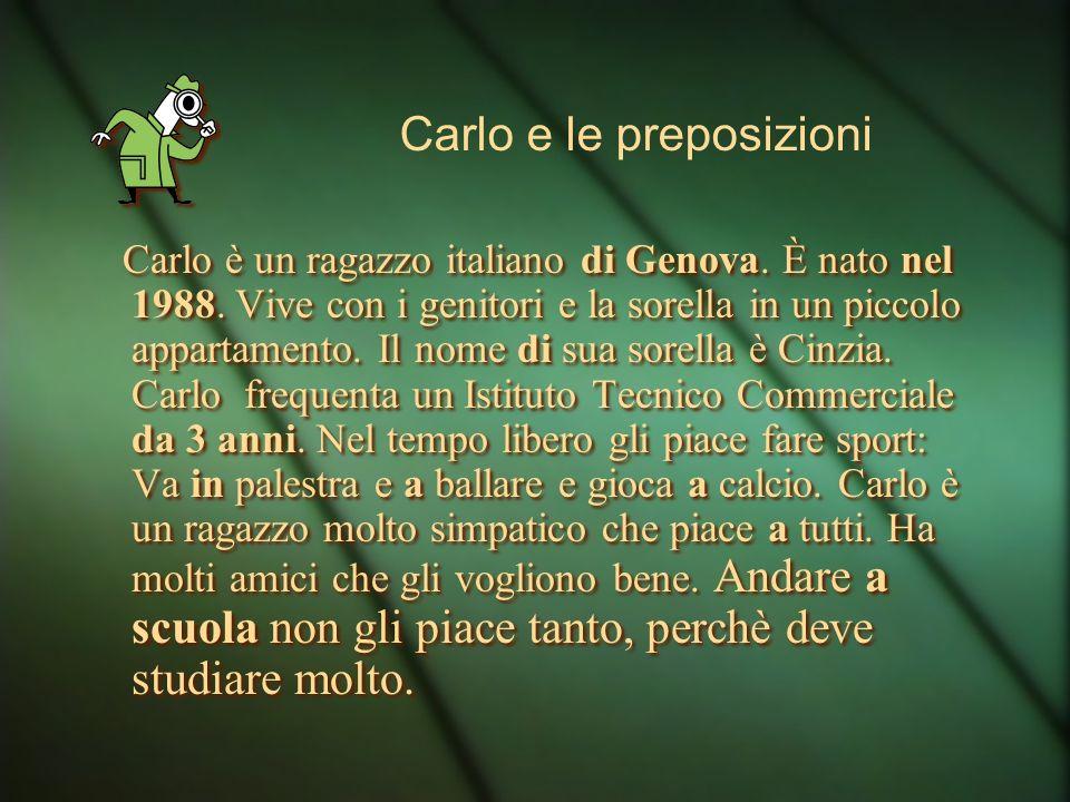 Carlo è un ragazzo italiano di Genova. È nato nel 1988. Vive con i genitori e la sorella in un piccolo appartamento. Il nome di sua sorella è Cinzia.