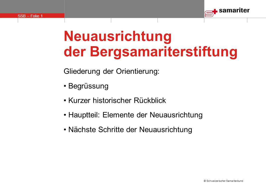 SSB – Folie 1 © Schweizerischer Samariterbund Neuausrichtung der Bergsamariterstiftung Gliederung der Orientierung: Begrüssung Kurzer historischer Rüc