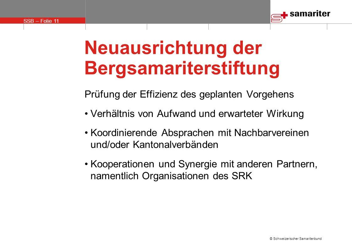 SSB – Folie 11 © Schweizerischer Samariterbund Neuausrichtung der Bergsamariterstiftung Prüfung der Effizienz des geplanten Vorgehens Verhältnis von A