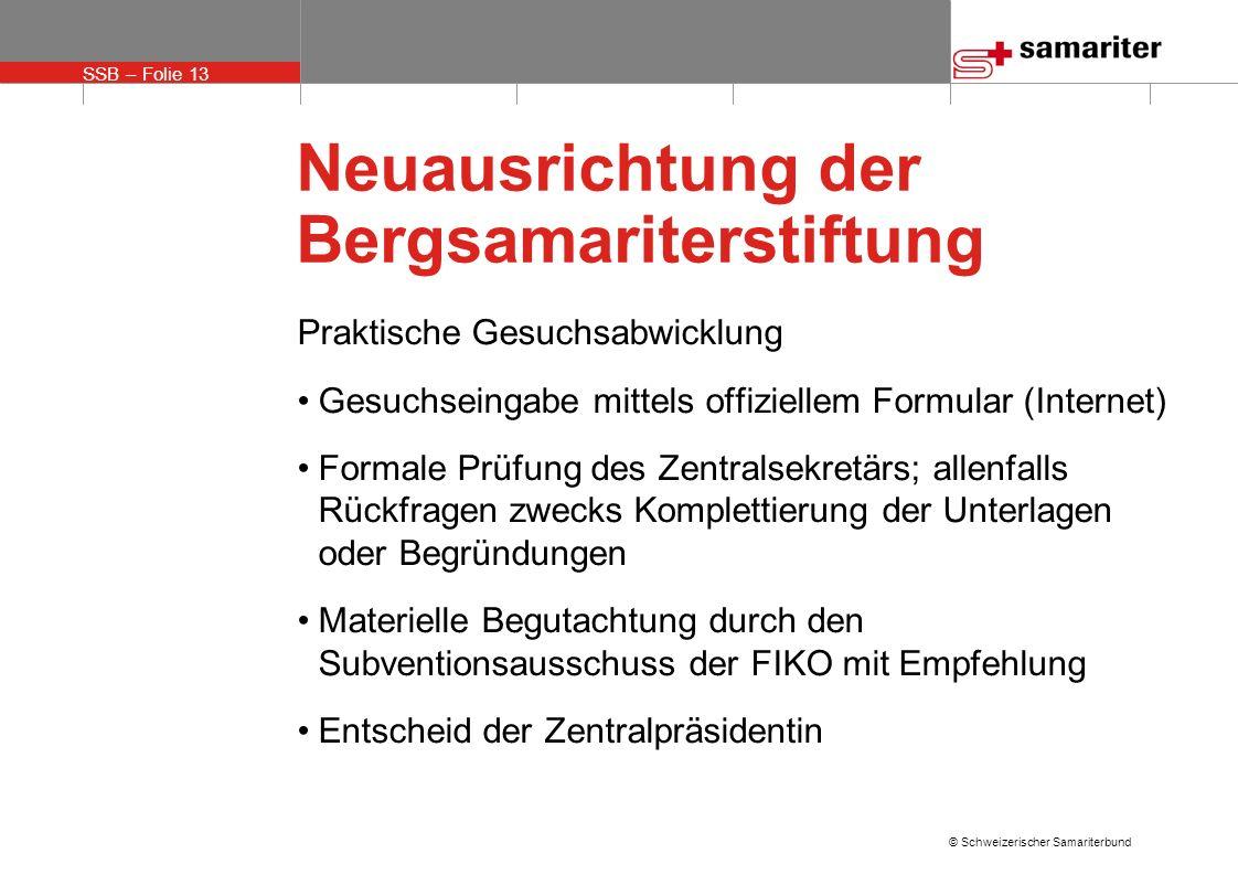 SSB – Folie 13 © Schweizerischer Samariterbund Neuausrichtung der Bergsamariterstiftung Praktische Gesuchsabwicklung Gesuchseingabe mittels offizielle