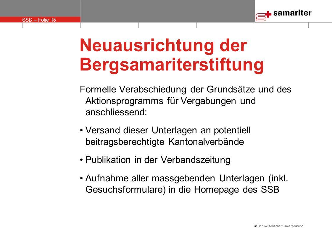 SSB – Folie 15 © Schweizerischer Samariterbund Neuausrichtung der Bergsamariterstiftung Formelle Verabschiedung der Grundsätze und des Aktionsprogramm