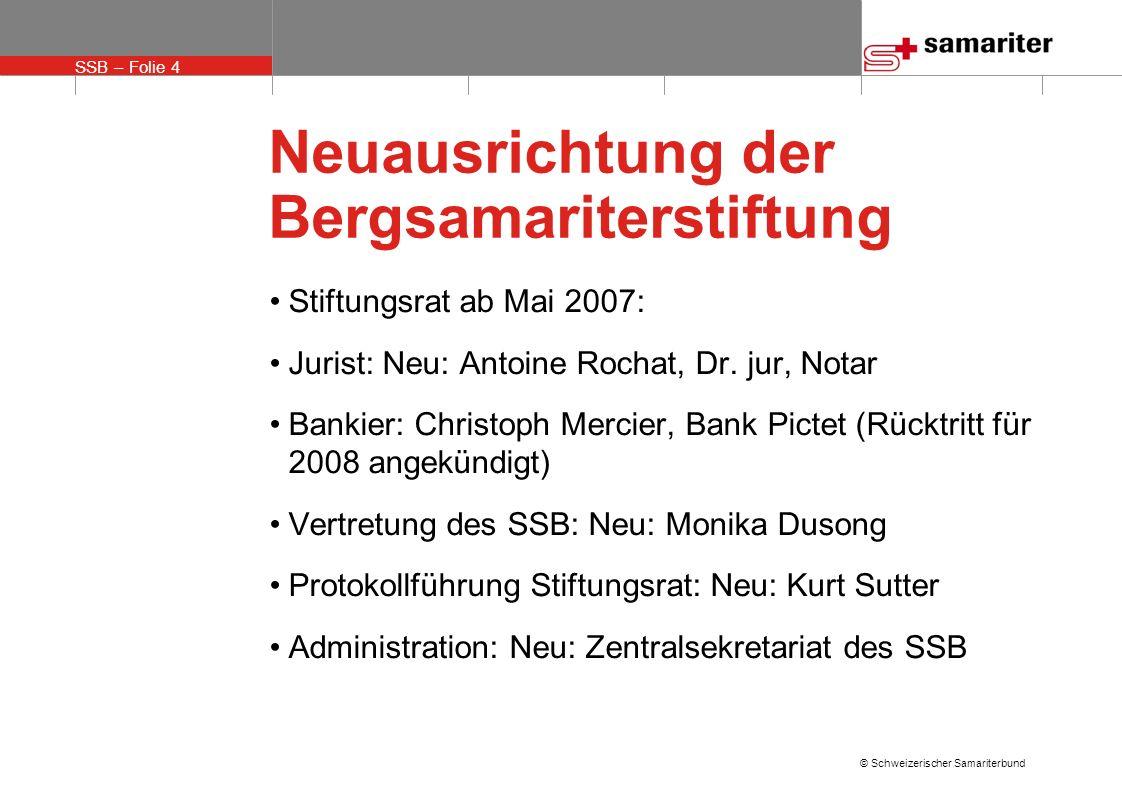 SSB – Folie 4 © Schweizerischer Samariterbund Neuausrichtung der Bergsamariterstiftung Stiftungsrat ab Mai 2007: Jurist: Neu: Antoine Rochat, Dr. jur,