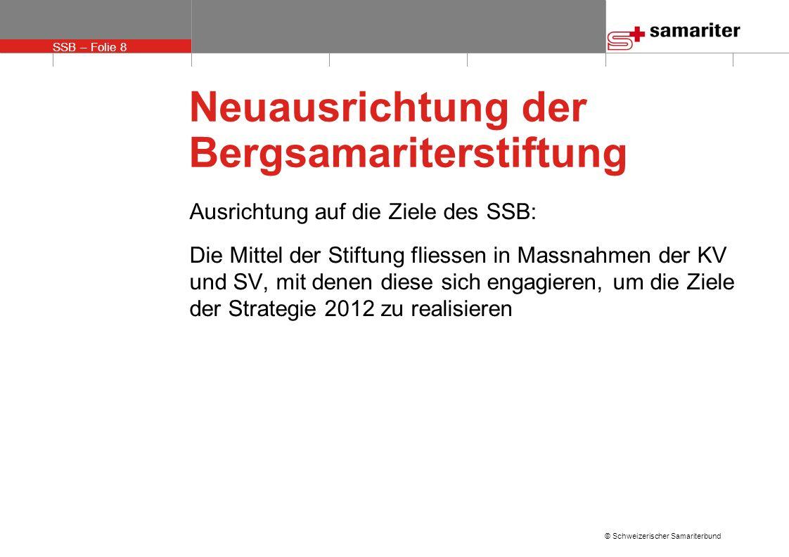 SSB – Folie 8 © Schweizerischer Samariterbund Neuausrichtung der Bergsamariterstiftung Ausrichtung auf die Ziele des SSB: Die Mittel der Stiftung fliessen in Massnahmen der KV und SV, mit denen diese sich engagieren, um die Ziele der Strategie 2012 zu realisieren