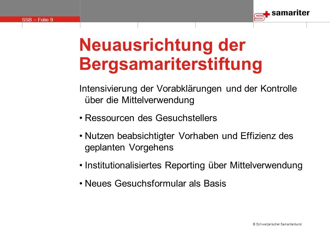 SSB – Folie 9 © Schweizerischer Samariterbund Neuausrichtung der Bergsamariterstiftung Intensivierung der Vorabklärungen und der Kontrolle über die Mi
