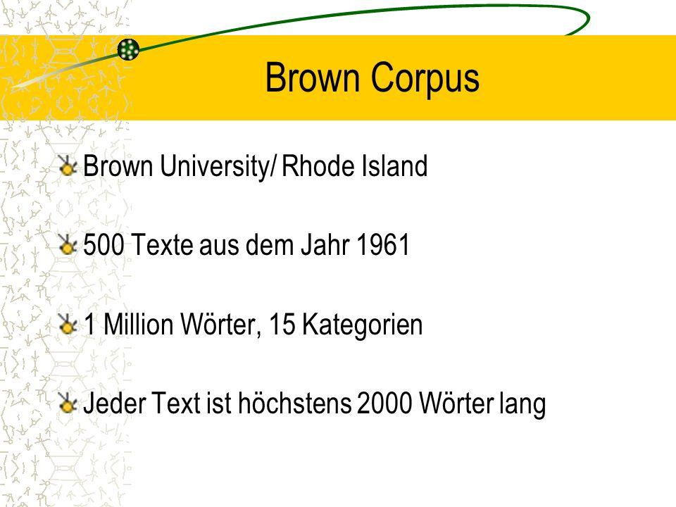 Brown Corpus Brown University/ Rhode Island 500 Texte aus dem Jahr 1961 1 Million Wörter, 15 Kategorien Jeder Text ist höchstens 2000 Wörter lang