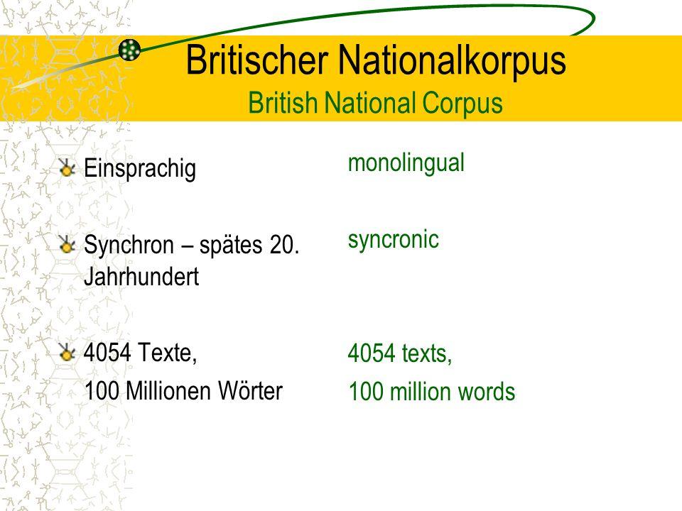 Britischer Nationalkorpus British National Corpus Einsprachig Synchron – spätes 20.