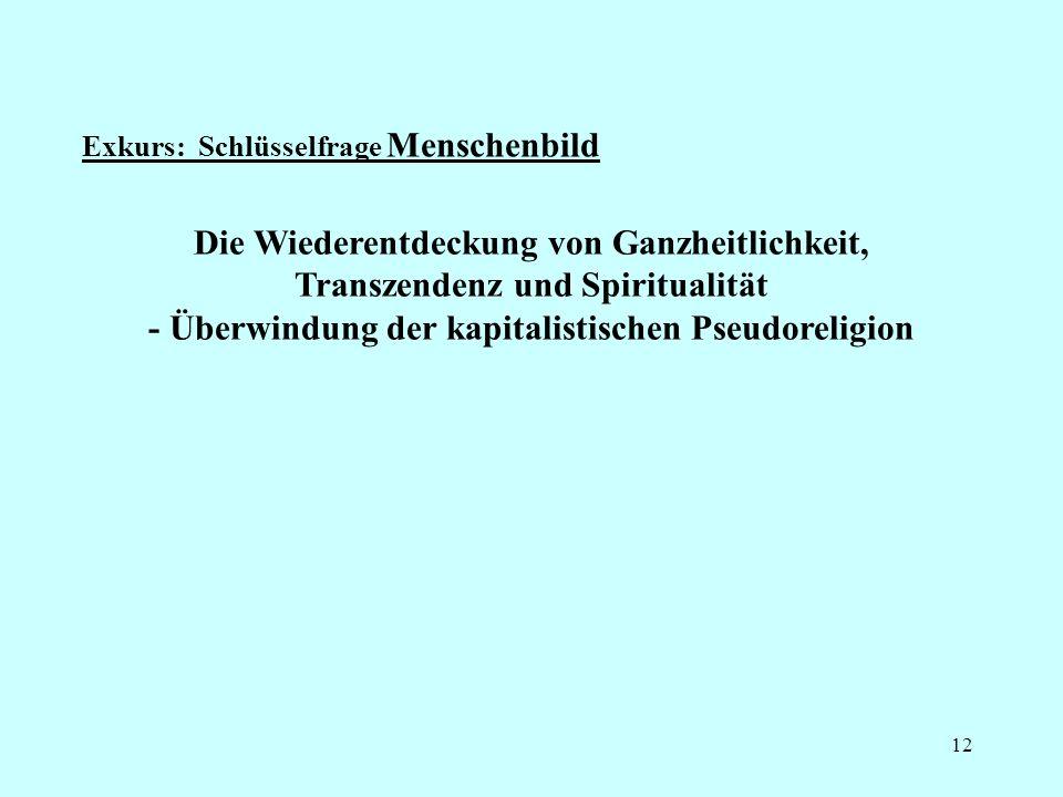 Exkurs: Schlüsselfrage Menschenbild 12 Die Wiederentdeckung von Ganzheitlichkeit, Transzendenz und Spiritualität - Überwindung der kapitalistischen Pseudoreligion
