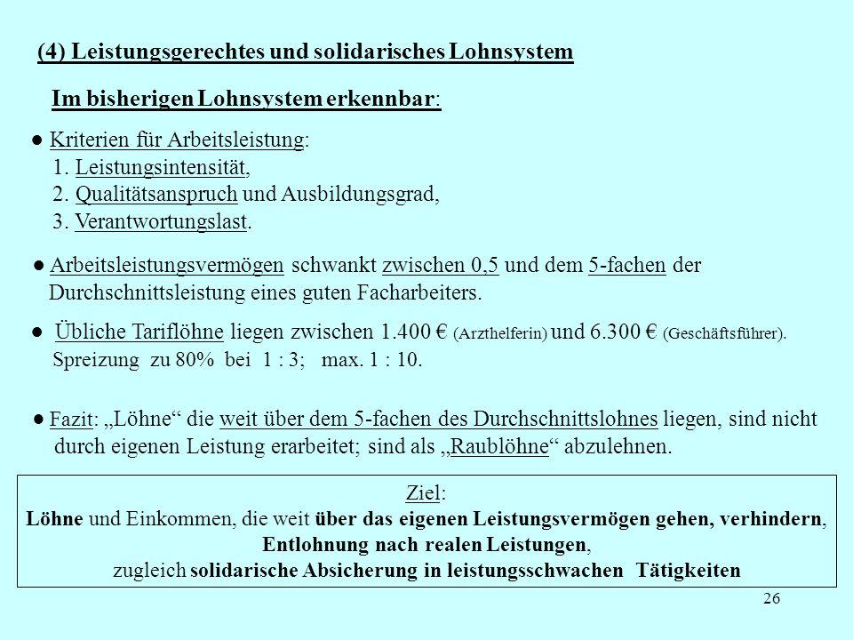 26 (4) Leistungsgerechtes und solidarisches Lohnsystem Kriterien für Arbeitsleistung: 1.