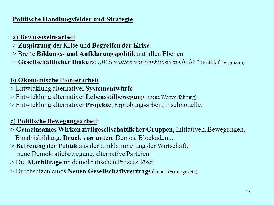 45 Politische Handlungsfelder und Strategie c) Politische Bewegungsarbeit: > Gemeinsames Wirken zivilgesellschaftlicher Gruppen, Initiativen, Bewegungen, Bündnisbildung: Druck von unten, Demos, Blockaden...