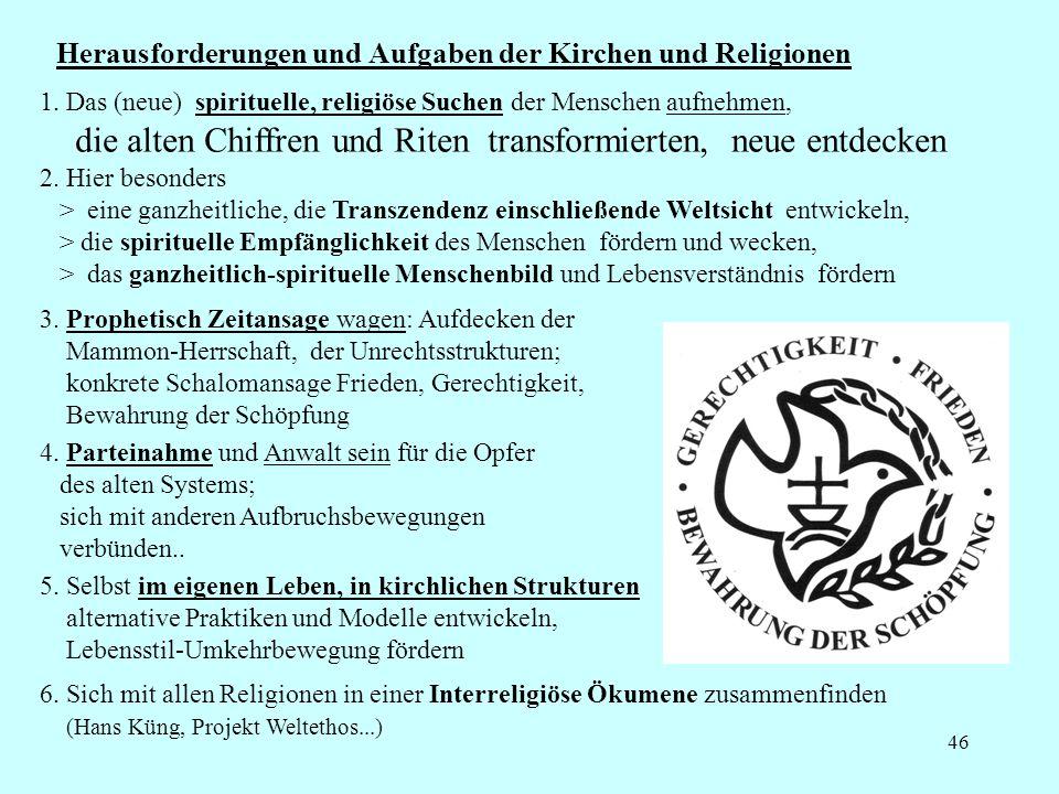 46 Herausforderungen und Aufgaben der Kirchen und Religionen 5.
