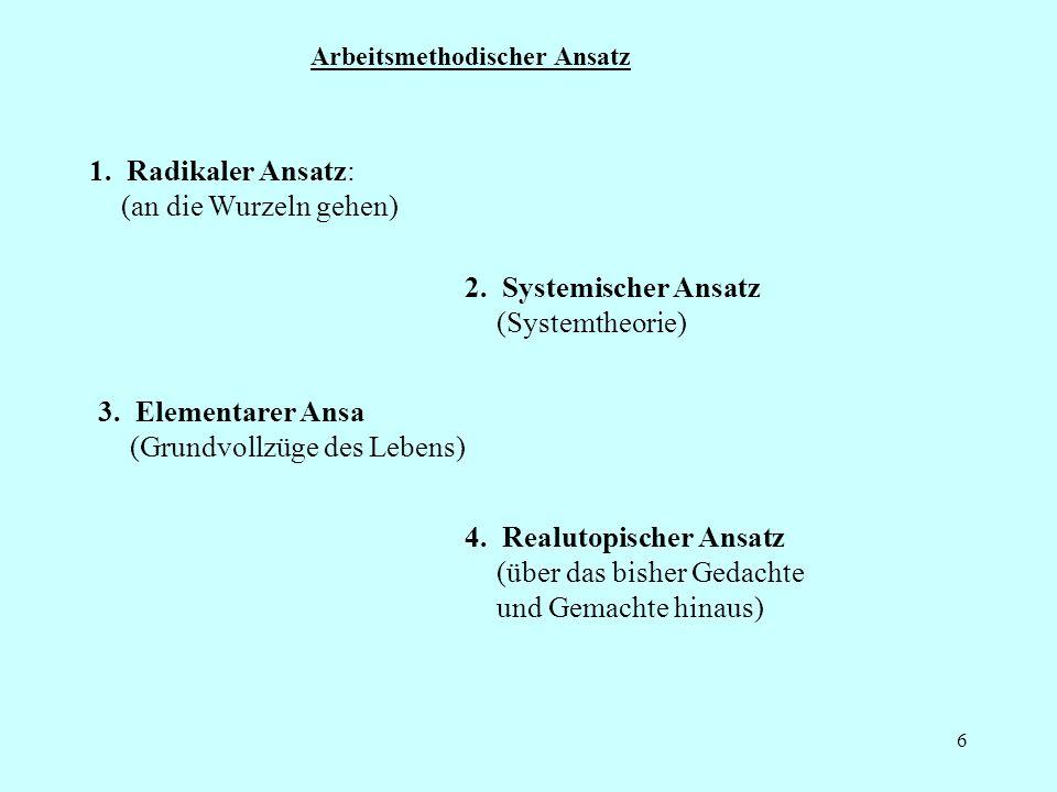 6 Arbeitsmethodischer Ansatz 2.Systemischer Ansatz (Systemtheorie) 1.