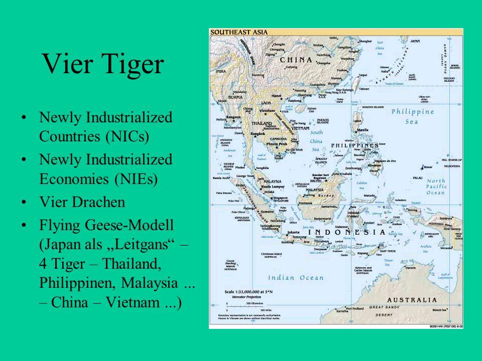 Conclusio Die vier Tiger verfügten über starke, effiziente, technokratische und wenig korrupte Regierungen, die mittels marktkonformer Instrumente oder ihrer Überredungskunst fähig waren, die Ressourcen meist richtig auf die Wachstumsbranchen zu verteilen.