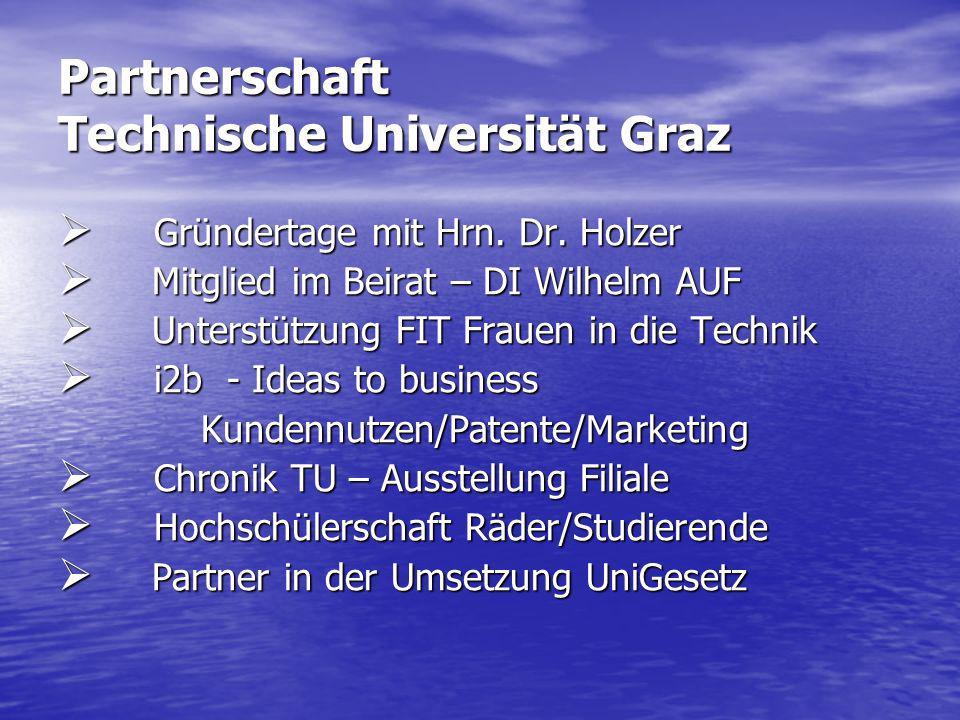 Partnerschaft Technische Universität Graz Gründertage mit Hrn. Dr. Holzer Gründertage mit Hrn. Dr. Holzer Mitglied im Beirat – DI Wilhelm AUF Mitglied