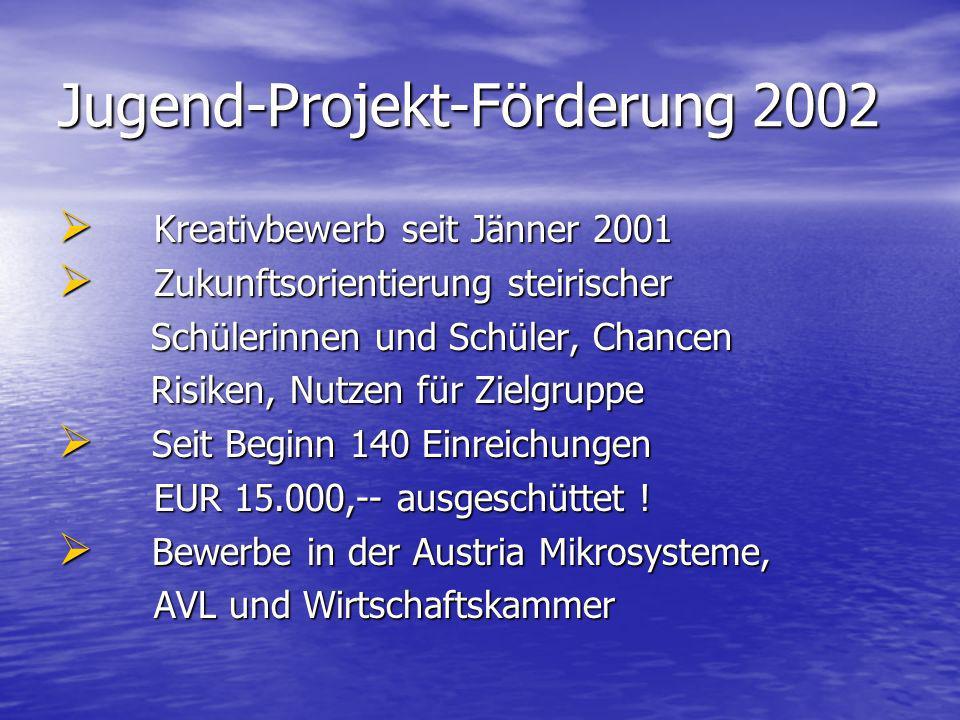 Jugend-Projekt-Förderung 2002 Kreativbewerb seit Jänner 2001 Kreativbewerb seit Jänner 2001 Zukunftsorientierung steirischer Zukunftsorientierung stei