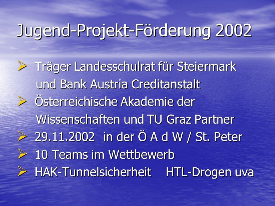 Jugend-Projekt-Förderung 2002 Träger Landesschulrat für Steiermark Träger Landesschulrat für Steiermark und Bank Austria Creditanstalt und Bank Austri