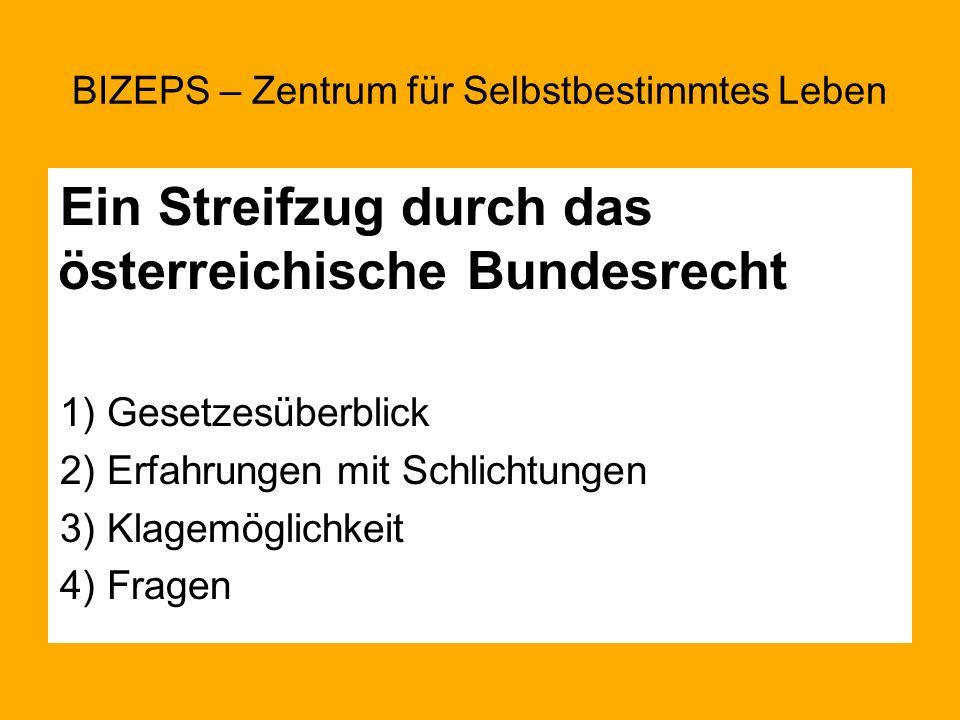Ein Streifzug durch das österreichische Bundesrecht 1) Gesetzesüberblick 2) Erfahrungen mit Schlichtungen 3) Klagemöglichkeit 4) Fragen BIZEPS – Zentr