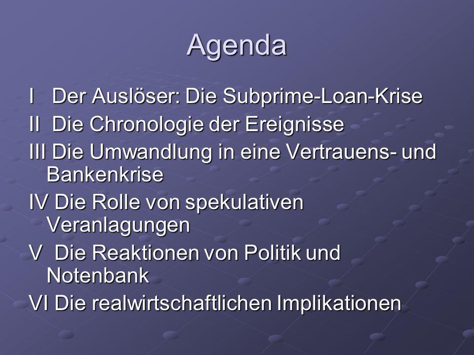 Agenda I Der Auslöser: Die Subprime-Loan-Krise II Die Chronologie der Ereignisse III Die Umwandlung in eine Vertrauens- und Bankenkrise IV Die Rolle v