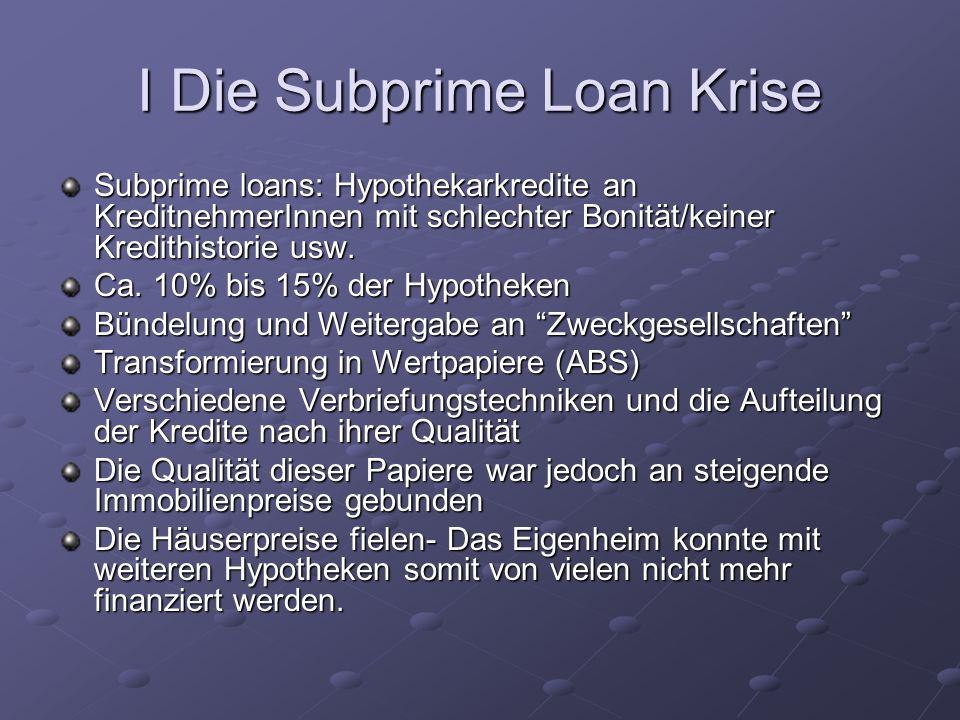 I Die Subprime Loan Krise Subprime loans: Hypothekarkredite an KreditnehmerInnen mit schlechter Bonität/keiner Kredithistorie usw. Ca. 10% bis 15% der