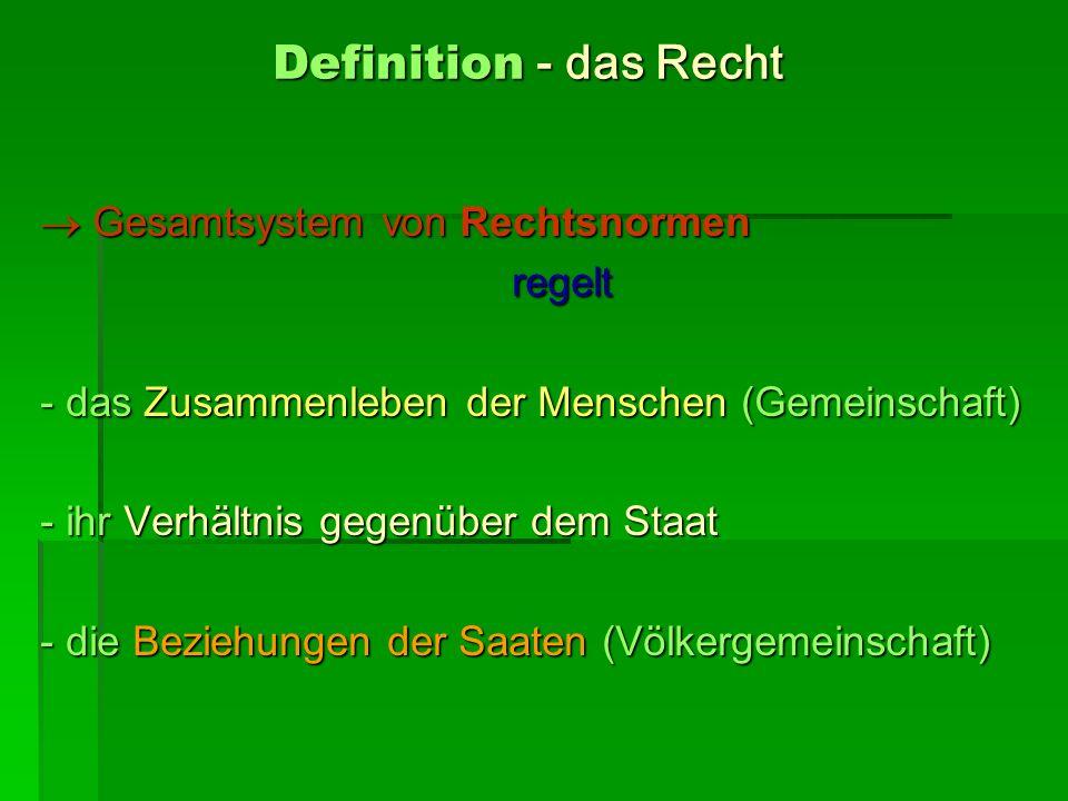 Definition - das Recht Gesamtsystem von Rechtsnormen Gesamtsystem von Rechtsnormen regelt regelt - das Zusammenleben der Menschen (Gemeinschaft) - ihr