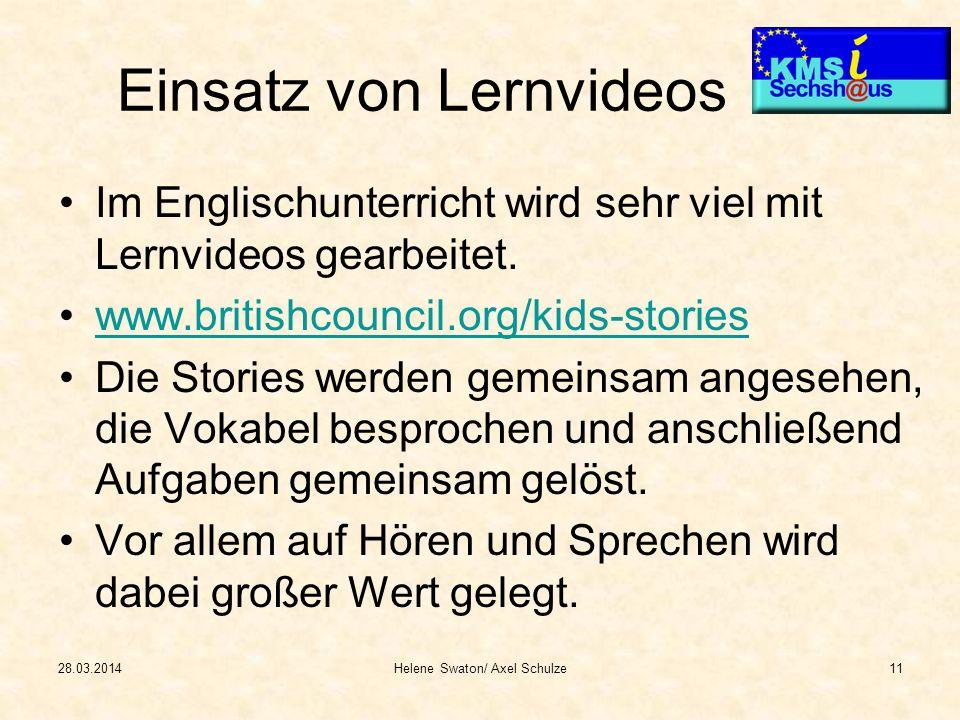 Einsatz von Lernvideos Im Englischunterricht wird sehr viel mit Lernvideos gearbeitet. www.britishcouncil.org/kids-stories Die Stories werden gemeinsa