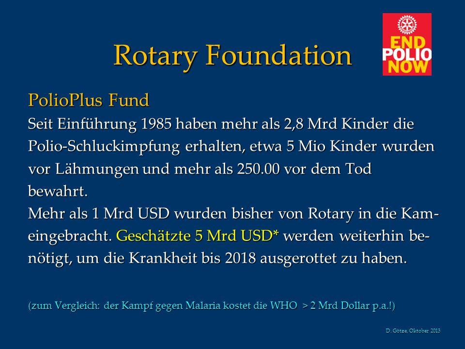 Rotary Foundation PolioPlus Fund Seit Einführung 1985 haben mehr als 2,8 Mrd Kinder die Polio-Schluckimpfung erhalten, etwa 5 Mio Kinder wurden vor Lä