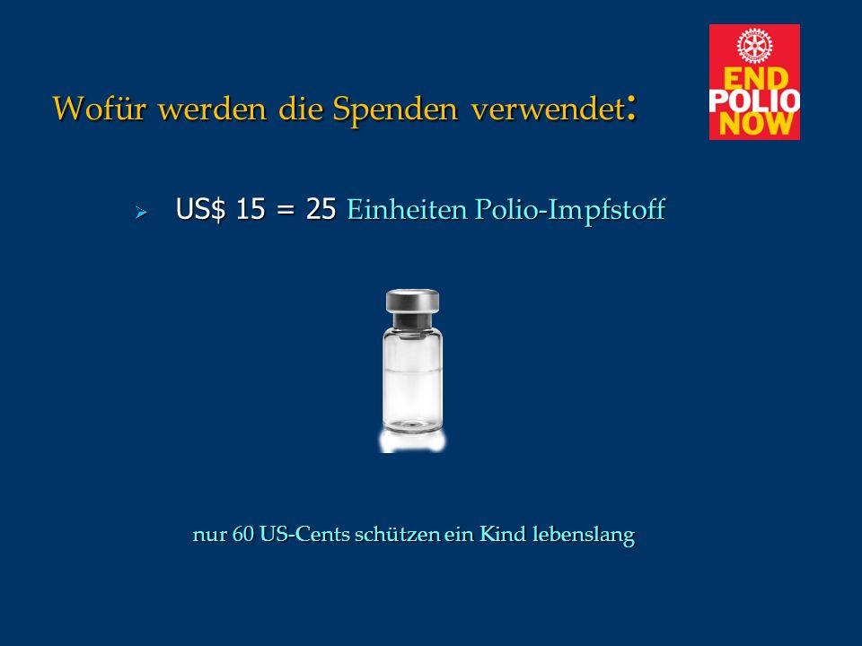 Wofür werden die Spenden verwendet : US$ 15 = 25 Einheiten Polio-Impfstoff US$ 15 = 25 Einheiten Polio-Impfstoff nur 60 US-Cents schützen ein Kind leb