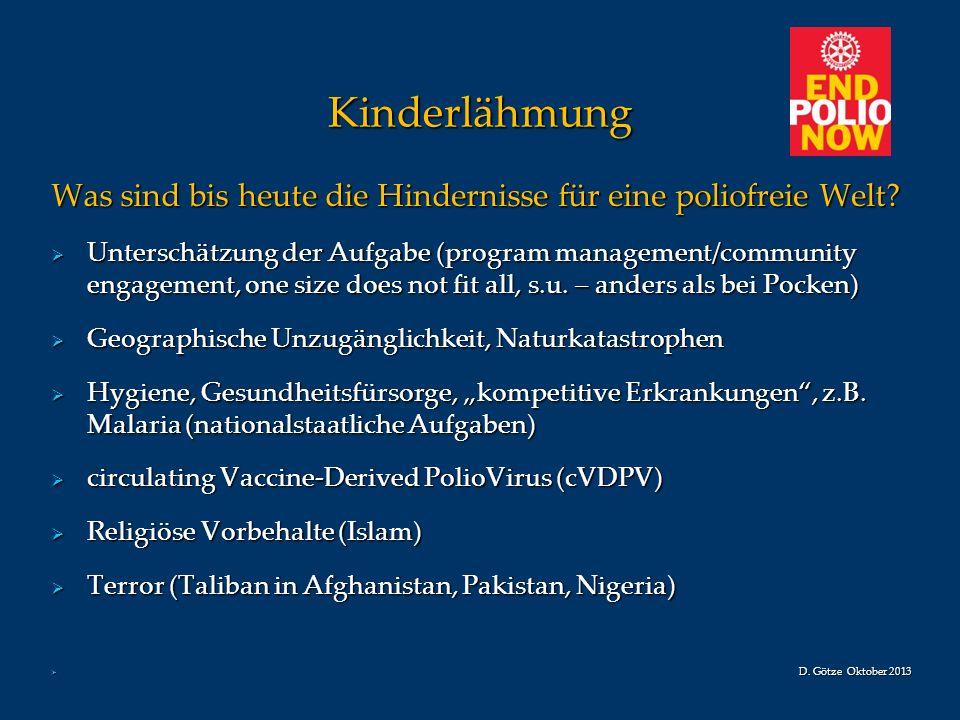 Kinderlähmung Was sind bis heute die Hindernisse für eine poliofreie Welt? Unterschätzung der Aufgabe (program management/community engagement, one si