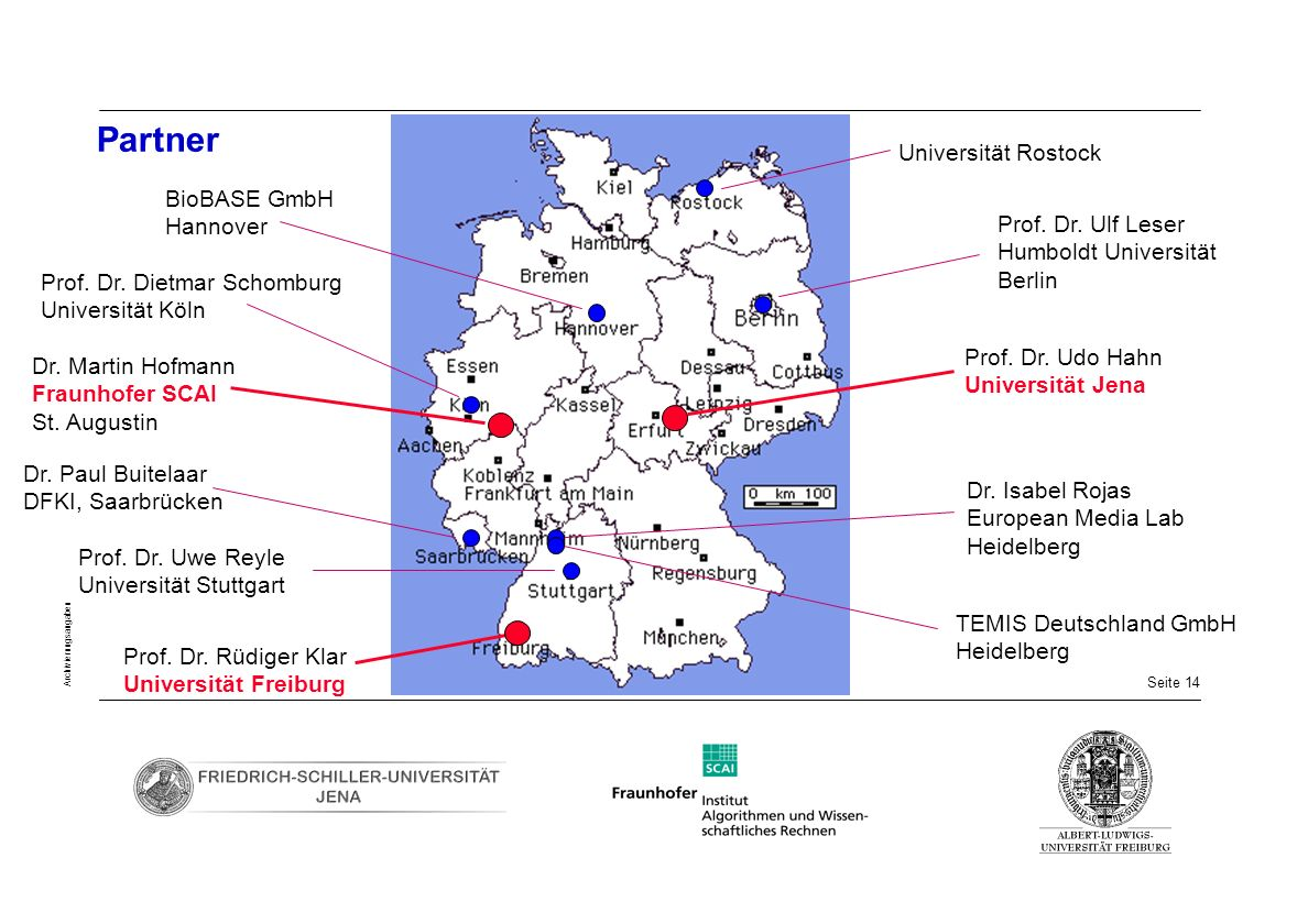 Seite 14 Archivierungsangaben Partner Prof. Dr. Ulf Leser Humboldt Universität Berlin Dr. Isabel Rojas European Media Lab Heidelberg Universität Rosto