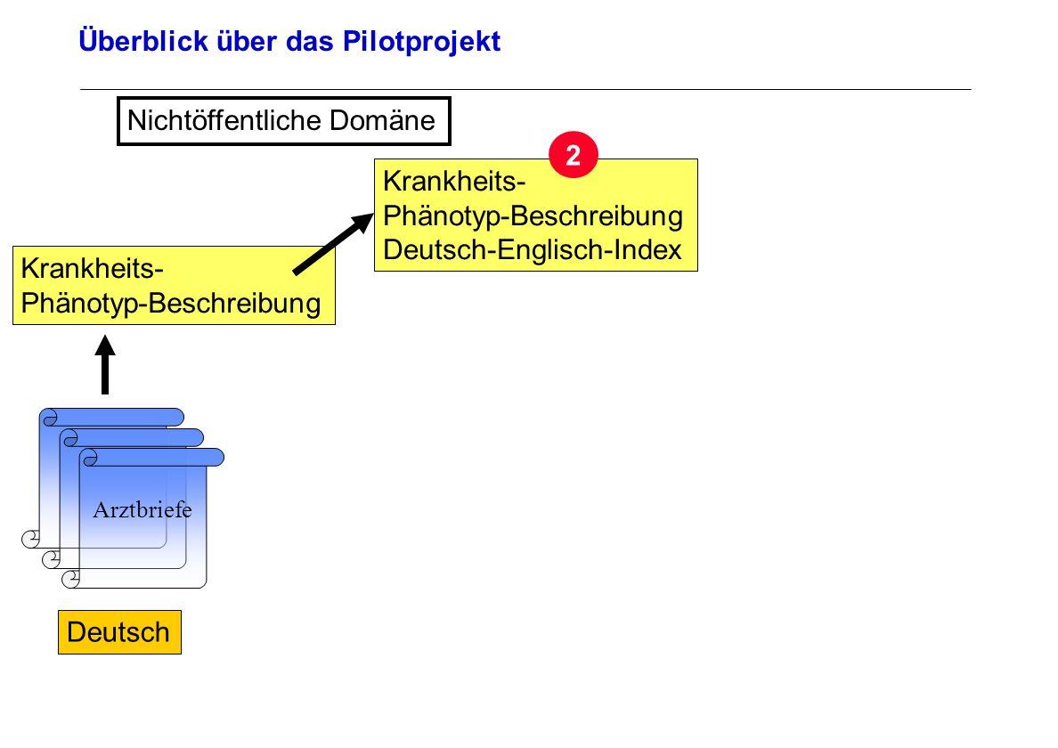 Seite 26 Archivierungsangaben Überblick über das Pilotprojekt Arztbriefe Deutsch Nichtöffentliche Domäne Krankheits- Phänotyp-Beschreibung Krankheits-