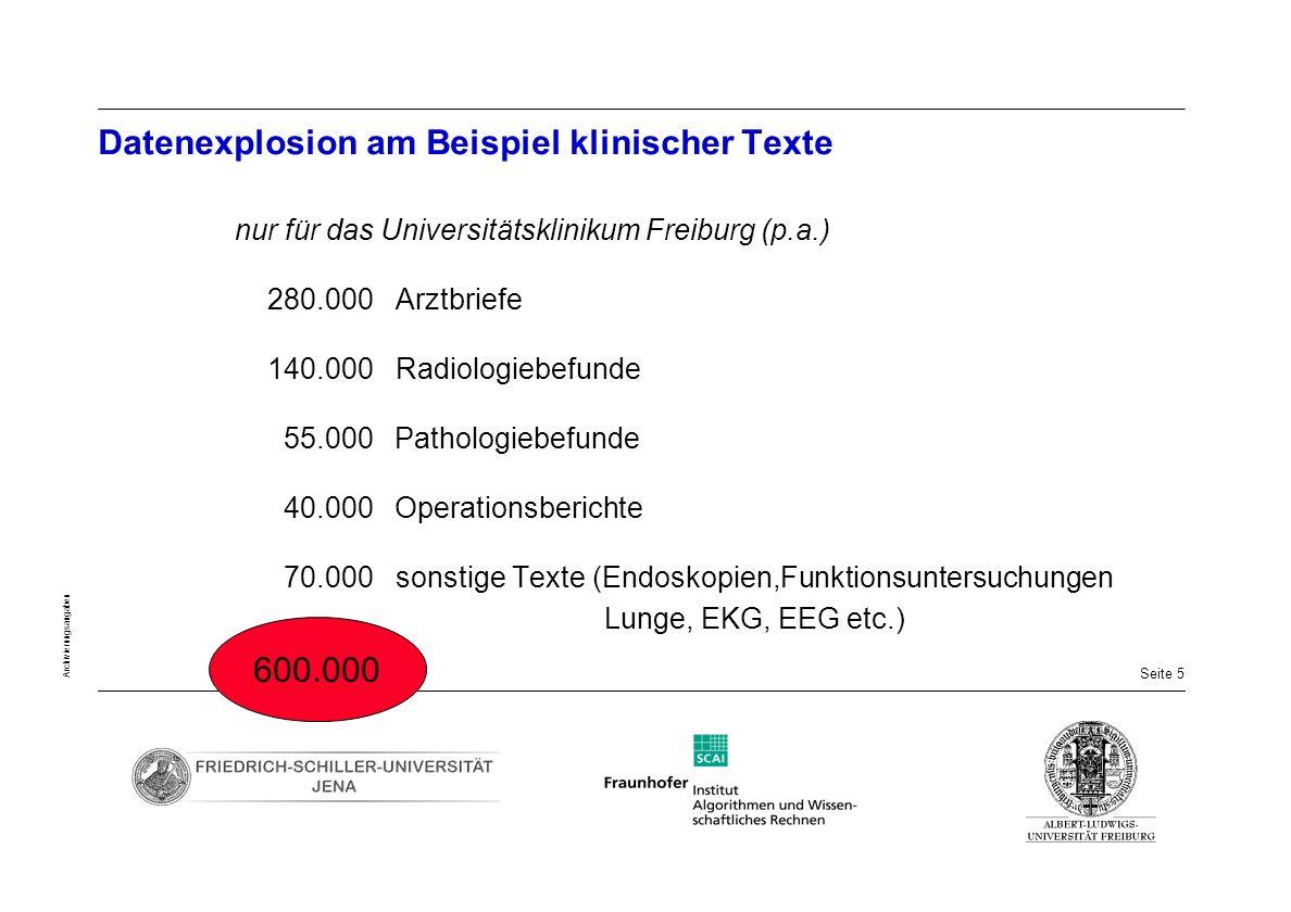 Seite 5 Archivierungsangaben Datenexplosion am Beispiel klinischer Texte nur für das Universitätsklinikum Freiburg (p.a.) 280.000 Arztbriefe 140.000 R
