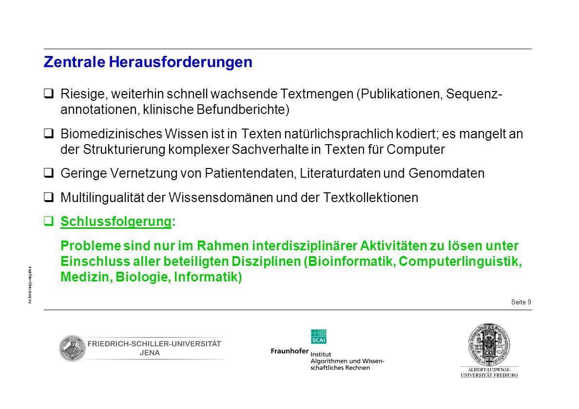 Seite 20 Archivierungsangaben Überblick über das Pilotprojekt Arztbriefe Deutsch Nichtöffentliche Domäne Krankheits- Phänotyp-Beschreibung 1