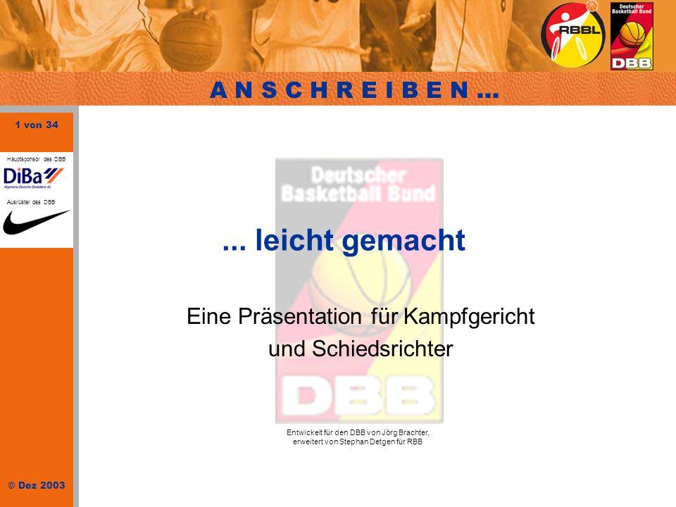32 von 34 © Dez 2003 Hauptsponsor des DBB Ausrüster des DBB Schlusseintragungen NUSSE 1,0 EICKEMEYER, B.4 2,0 WIENK, J.7 4,5WENZEL, S.8 1,5 STRANGE, C.