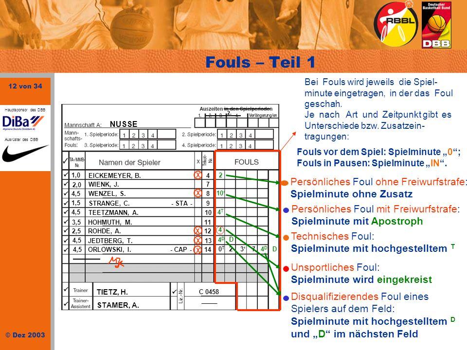 12 von 34 © Dez 2003 Hauptsponsor des DBB Ausrüster des DBB NUSSE 1,0 EICKEMEYER, B.4 2,0 WIENK, J.7 4,5WENZEL, S.8 1,5 STRANGE, C. - STA -9 4,5 TEETZ