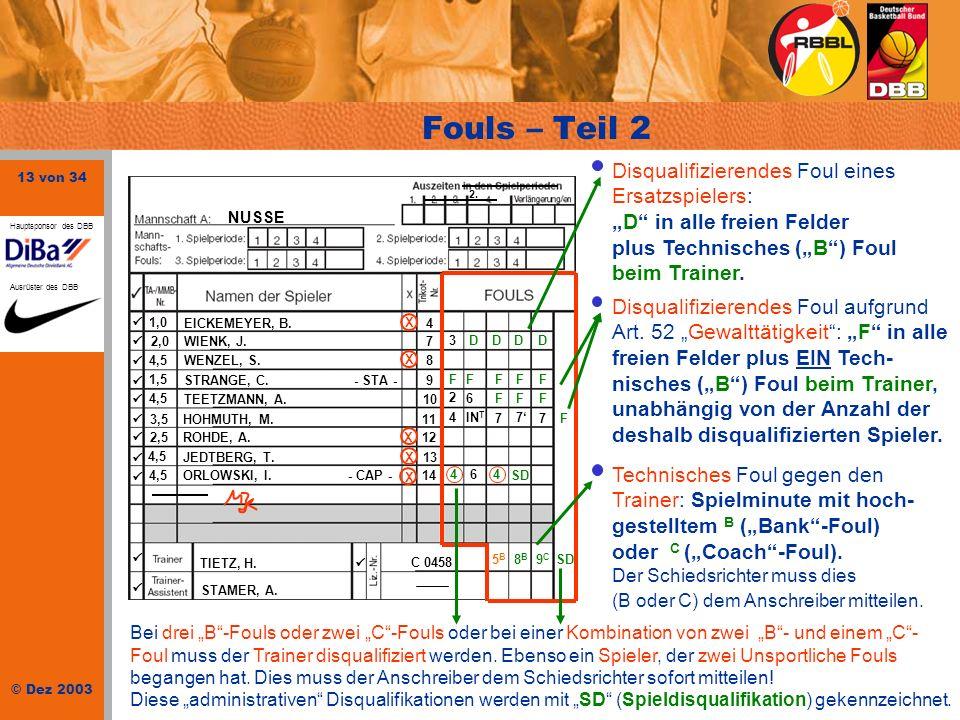 13 von 34 © Dez 2003 Hauptsponsor des DBB Ausrüster des DBB NUSSE 1,0 EICKEMEYER, B.4 2,0 WIENK, J.7 4,5WENZEL, S.8 1,5 STRANGE, C. - STA -9 4,5 TEETZ